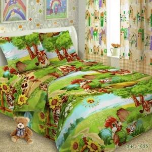 Детское постельное белье 1695 Петушки 1.5 сп поплин