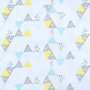 Ткань на отрез интерлок пенье Большие треугольники голубой 5708-17