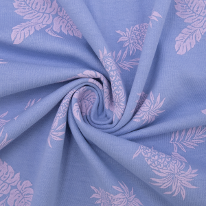 Ткань на отрез кулирка 1371-V1 Ананасы цвет сиреневый