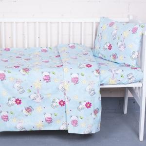 Постельное белье в детскую кроватку 1835/4 поплин с простыней на резинке
