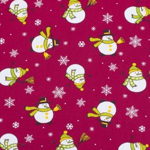 Ткань на отрез рогожка 150 см 97642 Снеговик цвет красный