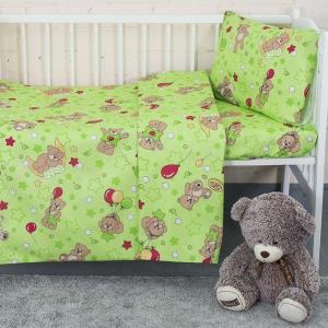 Постельное белье в детскую кроватку из бязи 350/2 Мишки зеленый
