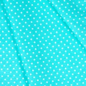 Ткань на отрез бязь плательная 150 см 1359/19 мятный фон белый горох