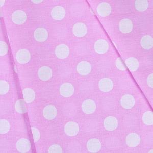 Ткань на отрез бязь плательная 150 см 1422/20 розовый фон белый горох