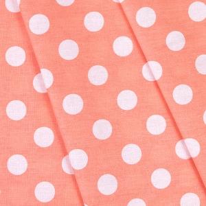 Ткань на отрез бязь плательная 150 см 1422/24 персиковый фон белый горох