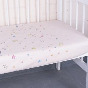 Простыня на резинке бязь детская 7347/1 Мишутка цвет розовый 90/200/20 см