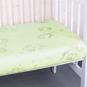 Простыня на резинке бязь детская 1285/3 Мамонтенок зеленый 60/120/12 см