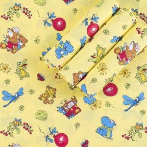 Набор детских пеленок бязь 4 шт 90/120 см 383/4 Зоопарк цвет желтый