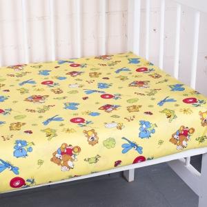 Простыня на резинке бязь детская 383/4 Зоопарк цвет желтый 60/120/12 см