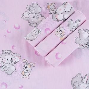 Набор детских пеленок бязь 4 шт 90/120 см 1285/2 Мамонтенок розовый