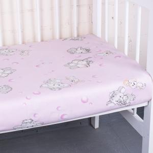 Простыня на резинке бязь детская 1285/2 Мамонтенок розовый 60/120/12 см