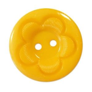 Пуговица детская на два прокола кругл Цветок 15 мм цвет желтый упаковка 50 шт