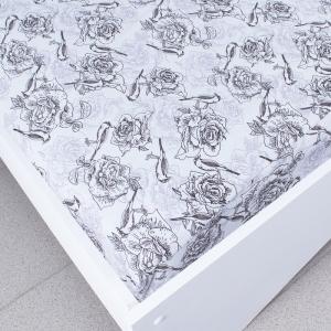 Простыня трикотажная на резинке Премиум цвет цветы29 140/200/20 см