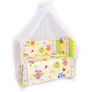 Набор в кроватку 7 предметов с оборками Совы