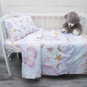 Постельное белье в детскую кроватку из перкаля 13247/1+13248/1 с простыней на резинке 160/80/15
