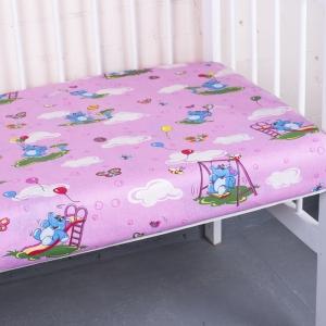 Простыня на резинке бязь детская 315/2 Слоники розовый 60/120/12 см