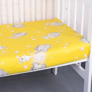 Простыня на резинке бязь детская 1285/5 Мамонтенок желтый 60/120/12 см