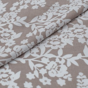 Ткань на отрез штапель Белые цветы на бежевом