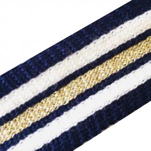 Лампасы №103 Premium синий белый золото люрекс 2.5см 1 метр