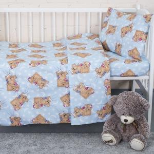 Постельное белье в детскую кроватку из бязи 1286/3 Соня голубой с простыней на резинке