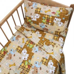 Постельное белье в детскую кроватку 9346/1 Тузик бежевый с простыней на резинке