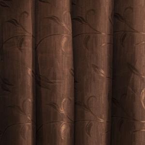 Портьерная ткань 150 см на отрез 9 цвет шоколад ветка-лист
