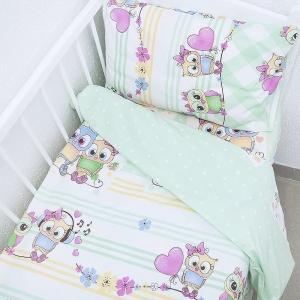 Постельное белье в детскую кроватку 90121 бязь ГОСТ с простыней на резинке