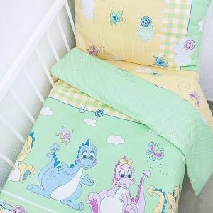 Постельное белье в детскую кроватку 92631 бязь ГОСТ с простыней на резинке