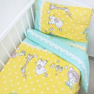 Постельное белье в детскую кроватку 92821 бязь ГОСТ с простыней на резинке