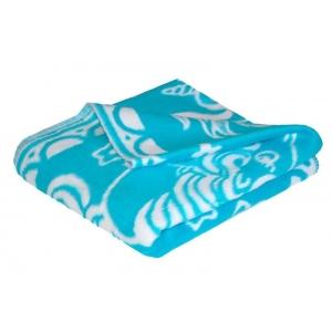 Одеяло детское байковое жаккардовое 140/100 см синий