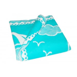 Одеяло детское байковое жаккардовое 140/100 см бирюзовый