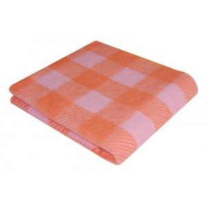Одеяло детское байковое жаккардовое Клетка 140/100 см оранжевый