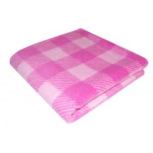 Одеяло детское байковое жаккардовое Клетка 140/100 см розовый