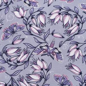 Купить ткань на отрез кулирка Цветы на сером R4147-V5 напрямую от производителя - 1mtkani.ru