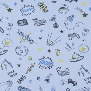 Ткань на отрез интерлок Комиксы 4293-19 цвет голубой