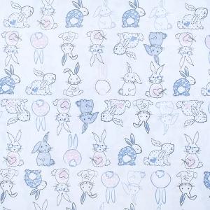 Ткань на отрез кулирка Зайцы пэчворк 3331-19 цвет белый