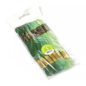 Нитки мулине Цветик-семицветик 10м ПНК набор 7 мотков 5 зеленый лепесток
