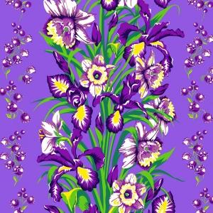 Ткань на отрез вафельное полотно 45 см 144 гр/м2 1589/1 Цветы на фиолетовом