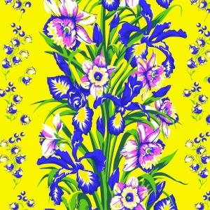 Ткань на отрез вафельное полотно 45 см 144 гр/м2 1589/4 Цветы на желтом