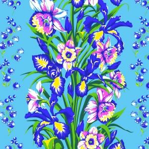 Ткань на отрез вафельное полотно 45 см 144 гр/м2 1589/3 Цветы на голубом