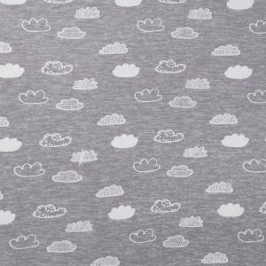 Ткань на отрез интерлок R3141-V1 Облака цвет серый