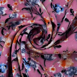 Ткань на отрез штапель 150 см D048-2 Цветы на розовом