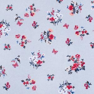Ткань на отрез кулирка карде Цветы лен R-R9041-V1