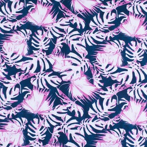 Ткань на отрез интерлок пенье Монстера розовая R-R6058-V3
