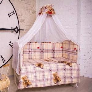 Набор в кроватку 7 предметов с оборками Плюшевые мишки