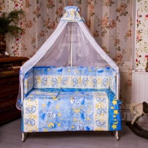 Набор в кроватку 7 предметов с оборками Сонный мишка  голубой