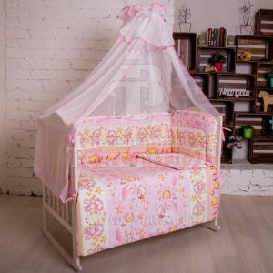 Набор в кроватку 7 предметов с оборками Сонный мишка  розовый