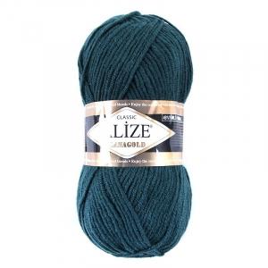 Пряжа для вязания Ализе LanaGold (49%шерсть, 51%акрил) 100гр цвет 426 петроль