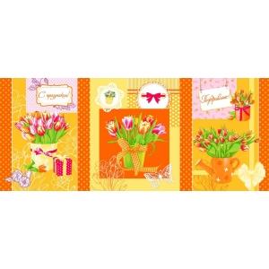 Ткань на отрез вафельное полотно набивное 150 см 449/3 Тюльпаны цвет оранжевый