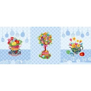 Ткань на отрез вафельное полотно набивное 150 см 3020-1 Пасхальное дерево цвет голубой